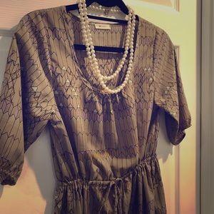 Tan/Gray Everly Cinch Waist Dress- small